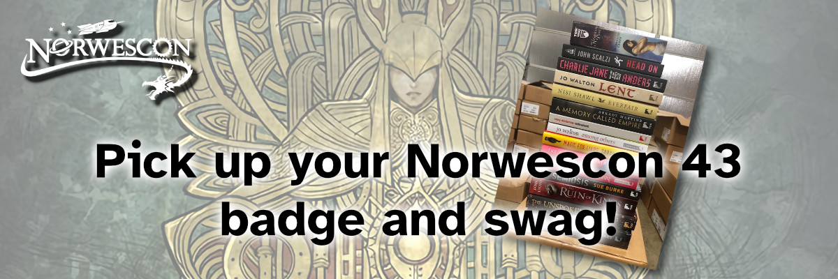 """Featured image for """"Pick up your badge and swag for Norwescon 43!"""""""